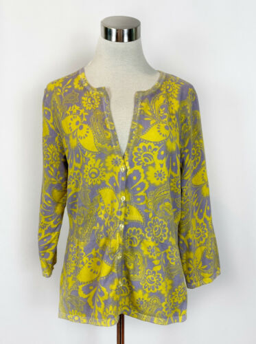 Saint Tropez West Lilac Yellow Floral Cardigan Swe