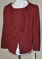 Inc International Concepts Macy's Asymmetrical Zip Ruffle Front Jacket Spice 2x