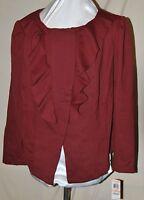 Inc International Concepts Macy's Asymmetrical Zip Ruffle Front Jacket Spice 2x