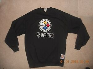 best loved d5c86 3e1a8 Details about Vintage Pittsburgh Steelers Sweatshirt Nutmeg Mills Classic  Logo Black XL Playof