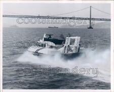 1965 Port of Oakland Hovercraft Approaches Golden Gate Bridge Press Photo