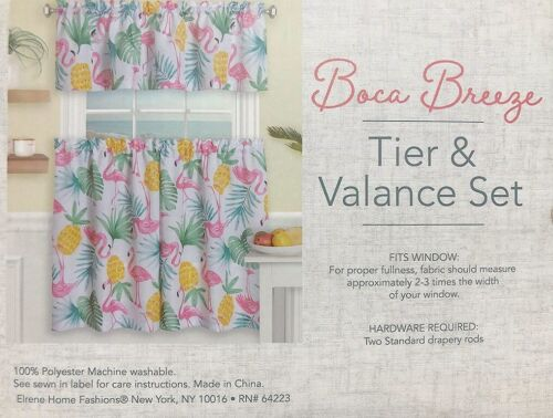 "Pink Flamingo Boca Breeze Tier Curtains and Valance Set 36/"" Tropical Summer"