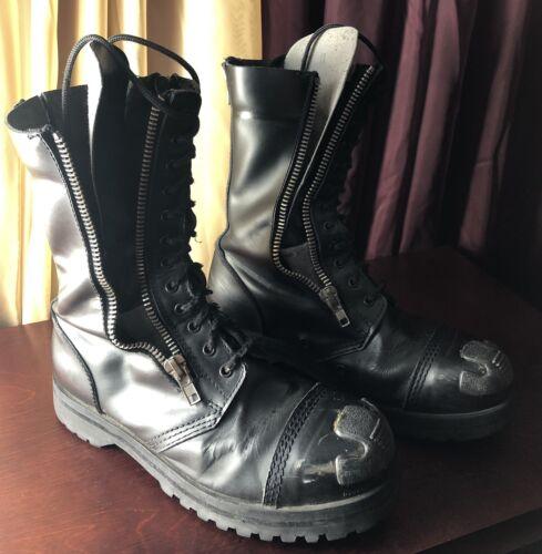 Demonia boots men Size 11 Black Leather Steel Toe
