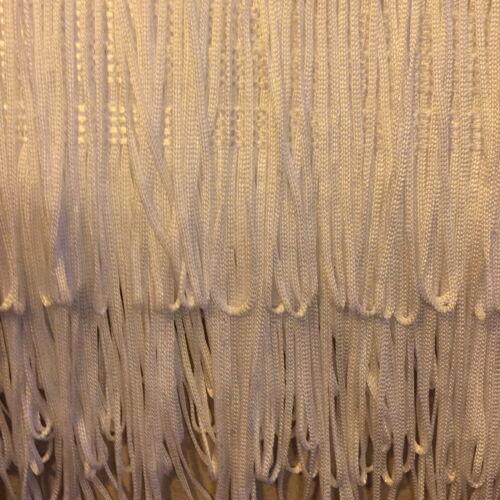 "QUALITY FRINGING 4/""// 100mm White  Silky Looped Dress Fringe X 25 METRE CARD"