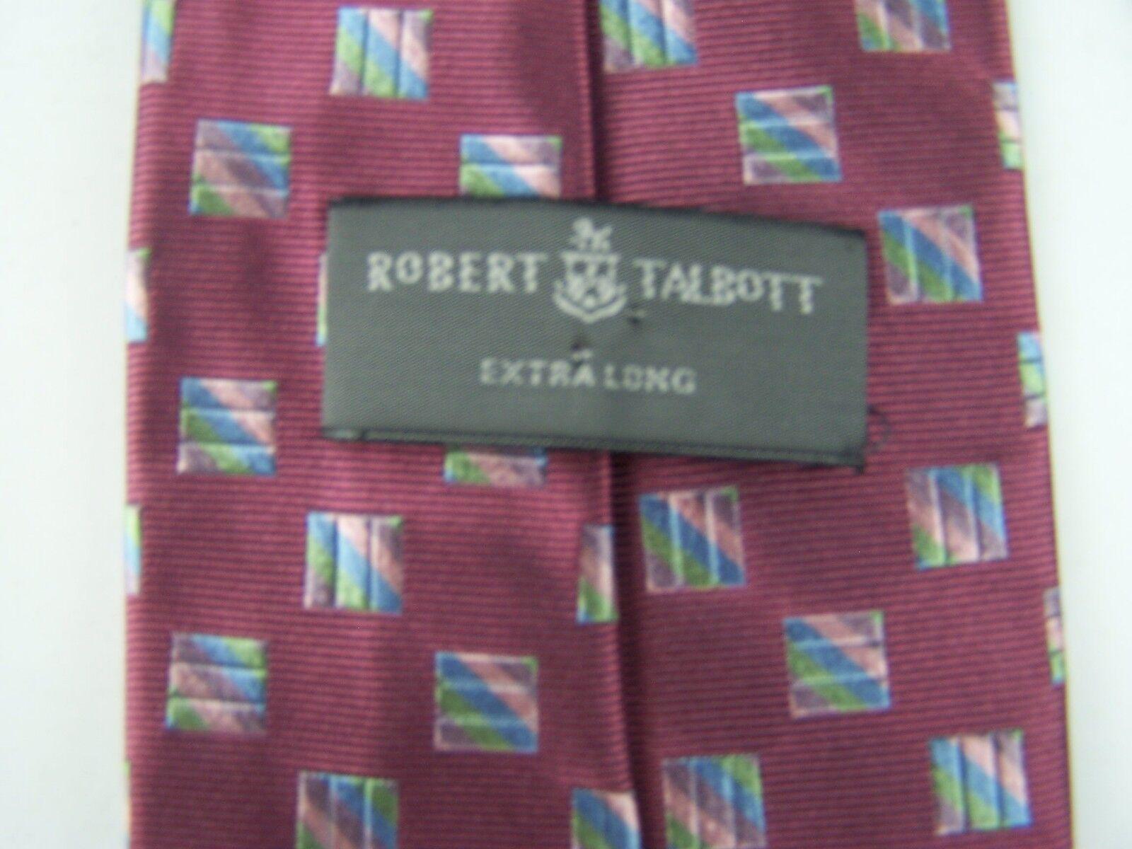 Robert Talbott Men's Burgundy Geometric Extra Long Silk