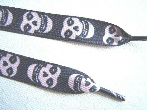 Black-with-White-Misfits-Skulls-Rockabilly-Punk-Premium-Shoe-laces-Shoelaces-New