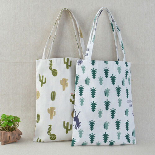 1x Pine cactus linen bag tote ECO shopping outdoor canvas shoulder bags TS