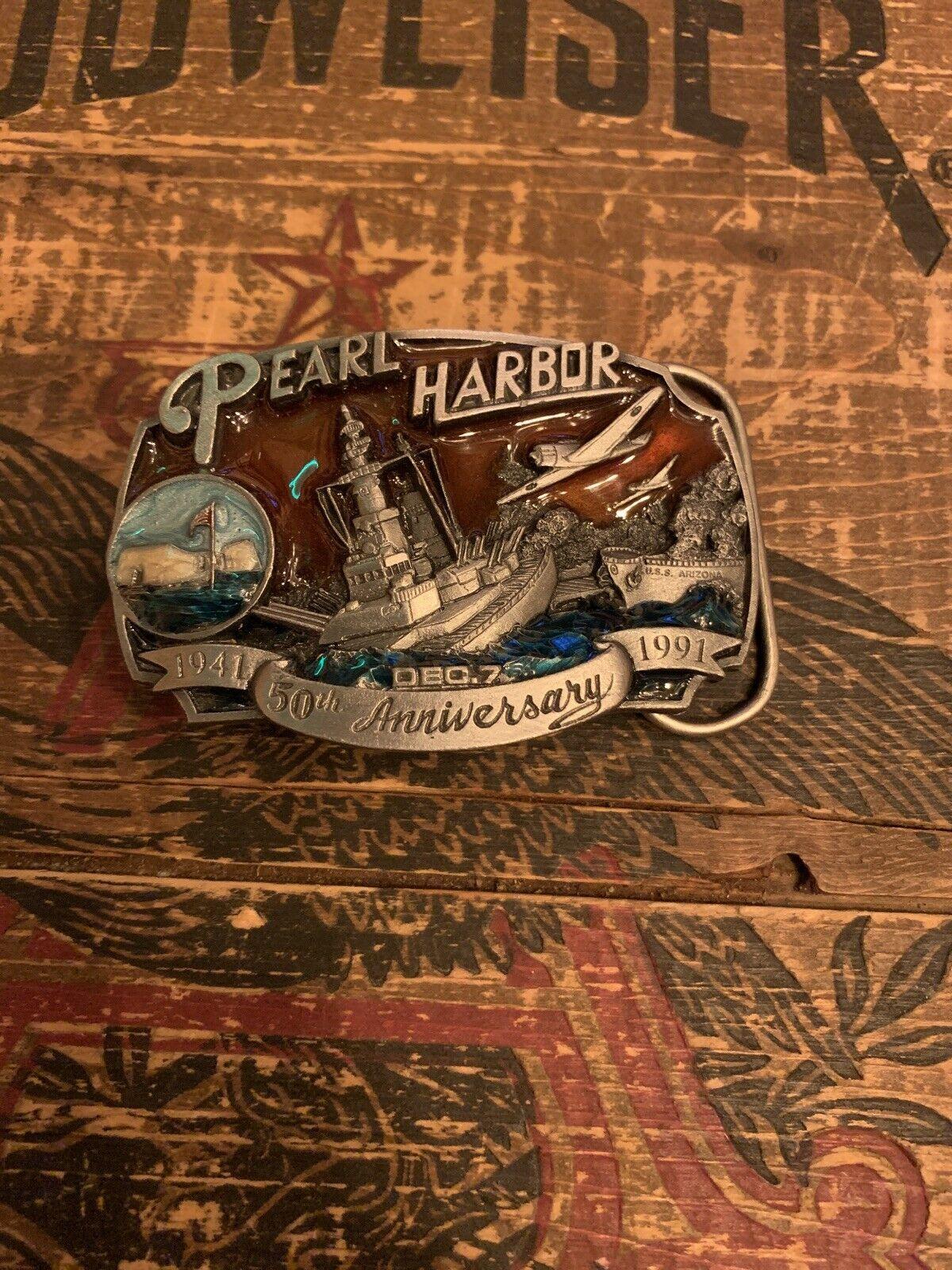1991 Pearl Harbor 50th aniversario Latón Hebilla por Arroyo Grande Buckle Co.