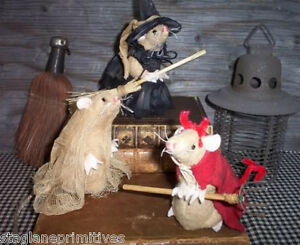 "Easy 5"" tall Halloween Witch, Devil & Ghost Mice Mouse Sewing Pattern Holiday"