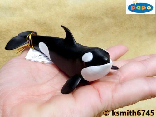 Papo Orca al polpaccio tinta unita in plastica giocattolo Wild Zoo Animale Marino Mare Orca NUOVO