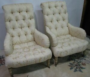 Pair Kravet Furniture Cream Damask Tufted Chairs Rolled Back