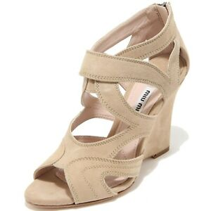 huge discount 23b7b 22b54 Details about 8160I MIU MIU sandalo zeppa donna beige sandal woman scarpe  shoes