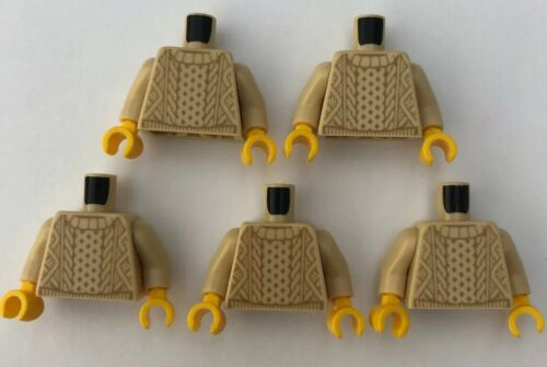 LEGO 5 x Torsos Knitted Sweater Tan Male Jumper Boy Minifigure Torso Bundle