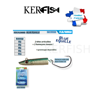 Flashmer blue equille 2 hooks texans 2 jointed heads