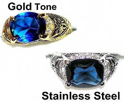 Men/'s 4.5ctw Sapphire /& White Topaz Ring  5920  September Birthstone