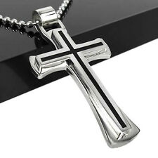 New Black Silver Stainless Steel Cross Crucifix Necklace Pendent Jewellery Gift