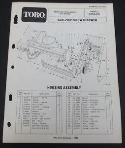 Toro CCR 2000 Snowthrower Parts Catalog Manual Model 38180 Serial ...