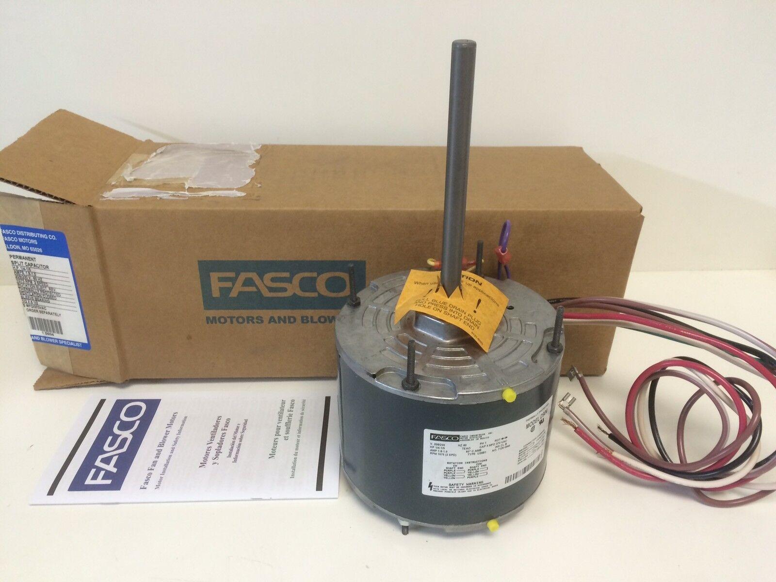 NEW IN BOX FASCO 1/4 1/5 PERM SPLIT CAP MOTOR D904 208-230V 1075RPM Fasco D Wiring Diagram on