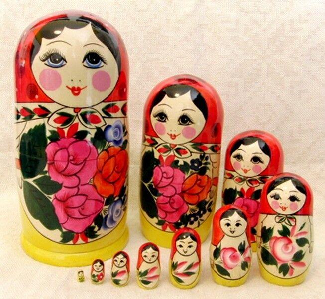 Fatto a mano semenov Tradizionale Russa matriosca matrioska in legno Set 10 PZ
