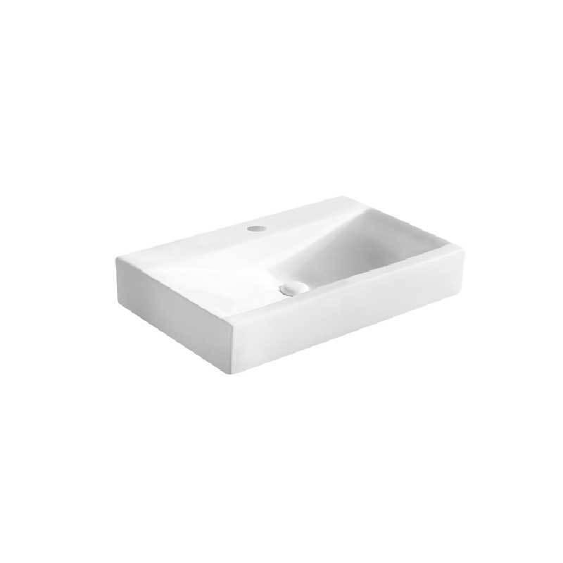 Lavabo d'appoggio o sospeso ceramica bianca 70,5x44,5 H.12 cm senza troppo pieno