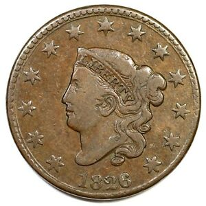 1826-N-6-R-2-Matron-or-Coronet-Head-Large-Cent-Coin-1c