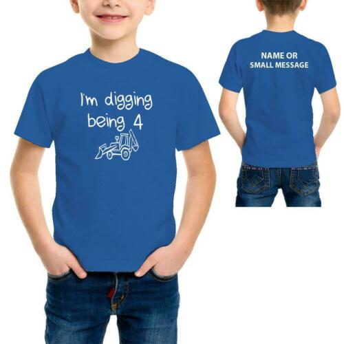 Boys Digger Toddler 4th Birthday Personalised Funny Printed T-Shirt Tee Top