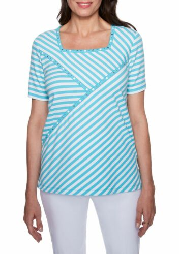 ALFRED DUNNER® L, XL Turks & Caicos Aqua Striped Spliced Top NWT $54