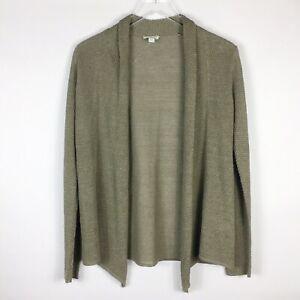 Pure-J-Jill-Green-Knit-Linen-Blend-Cardigan-Sweater-Lagenlook-S-Small