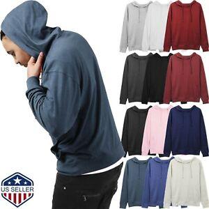 Mens-HOODIE-Pullover-Sweatshirts-T-Shirts-LIGHTweight-Long-Sleeve-Hooded-Tee