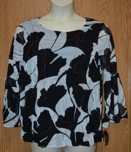 Womens Black White Red Floral Print Alfani Long Sleeve Shirt Size 1X NWT NEW $75