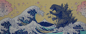 Tenugui-Godzilla-amp-Hokusai-039-s-Great-Wave-w-Sakura-Kaiju-Cotton-Japanese-Fabric