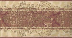 Wallpaper-Border-Rust-Burgundy-Tan-on-Cream-Striped-Leaf-Damask-87-ft-Long-Spool