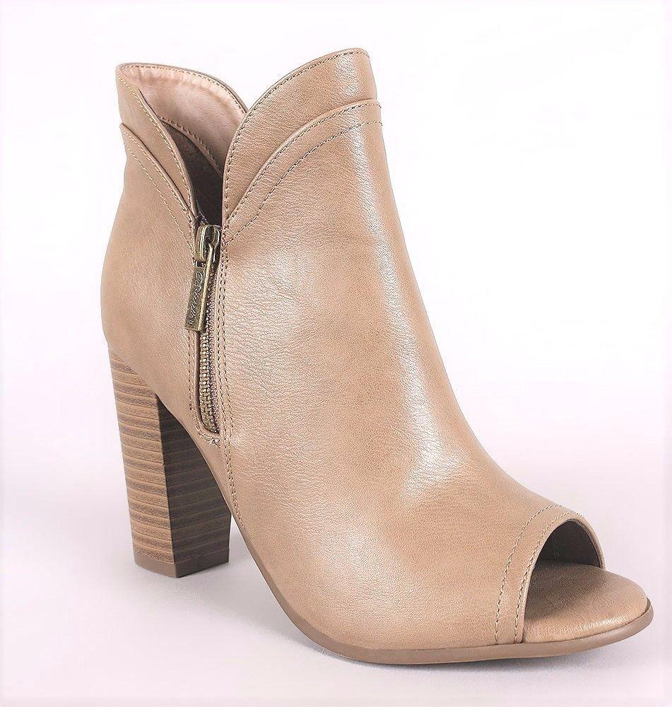 Women Leatherette Peep Toe Slit Chunky Heel Ankle Bootie Breckelles Sabrina-15