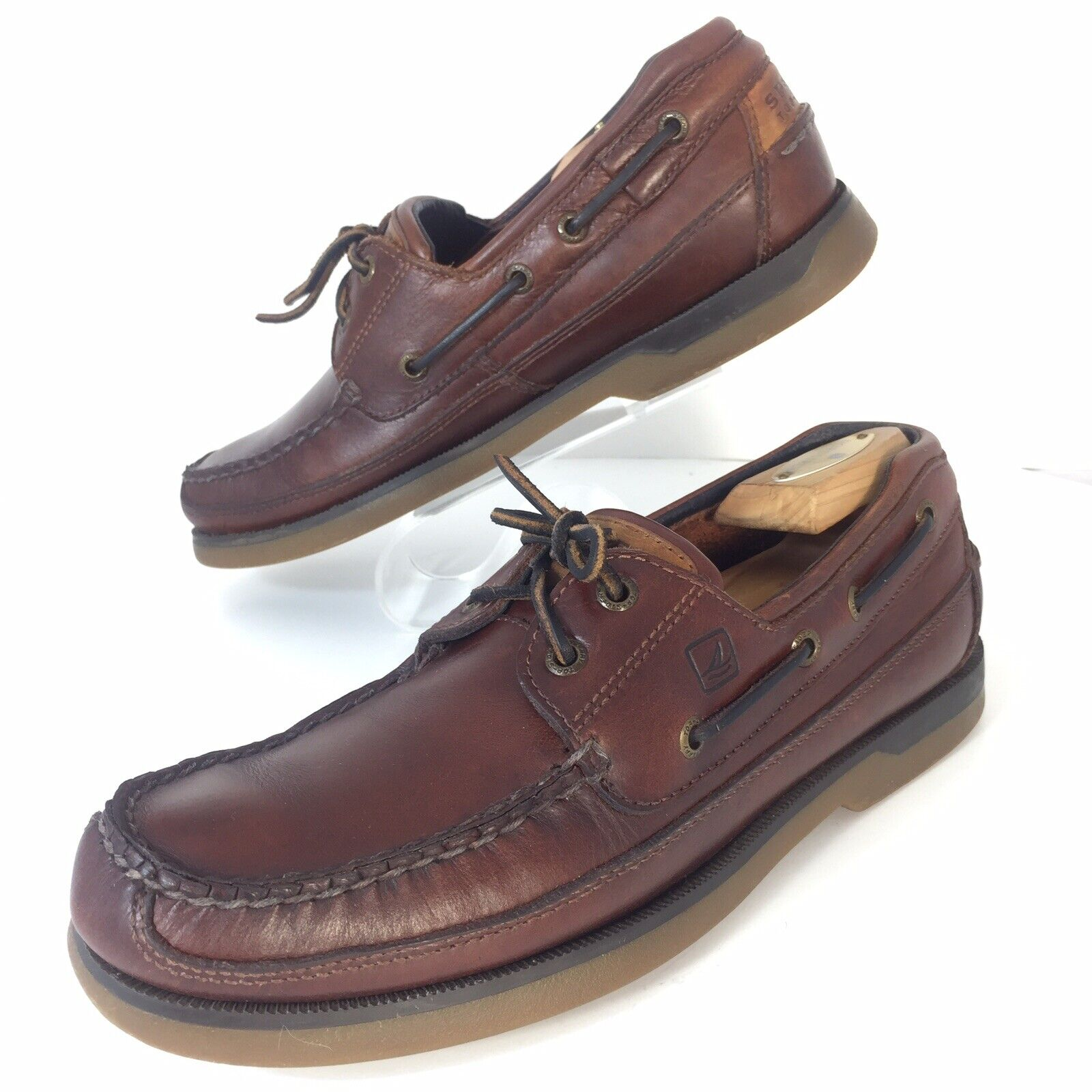 Sperry Top Sider Mens Size 9 Brown Leather Boat Casual shoes Mako Lace Up EUC