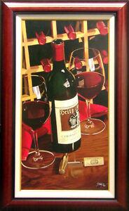 Thomas-Stiltz-034-Heits-Cellar-034-SN-Red-Wine-Giclee-Canvas-SIGNED-ARTWORK-framed