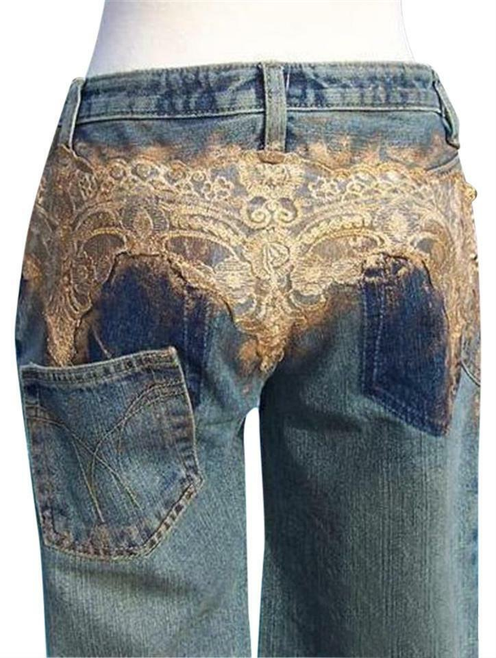 Cache Metallic Lace Airbrush gold Jewels Jean Pant New Crop Denim 0 2 4 6 8  198