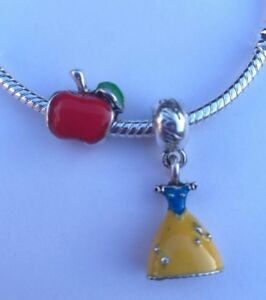 Disney Snow White Charm Bead Set Princess Dress And Red Apple Silver Plated CH61