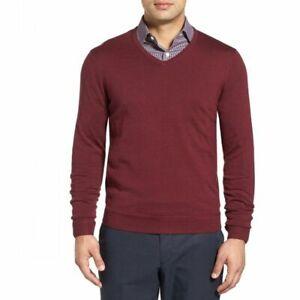 John-W-Nordstrom-Mens-Red-Merino-Wool-WInter-V-Neck-Sweater-New-XL