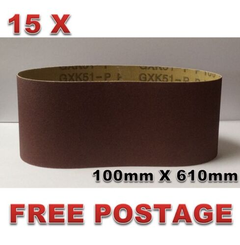 15pcs 100mm X 610mm Sanding Belts 40 400 Mixed Grit Heavy Duty Cloth Backed