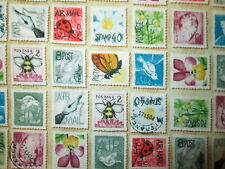 VINTAGE POSTAGE STAMPS BEES BUTTERFLY FLOWERS CREAM COTTON FABRIC FQ OOP