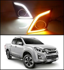 LED DRL Daytime Running Light Turn Signal Isuzu D-Max Fog Lamp Car Foglight KT