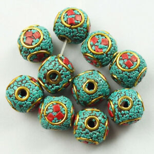 12mm-10Pcs-Nepal-Rare-Earth-Bronze-Coral-Turquoise-Round-Spacer-Beads-NN581