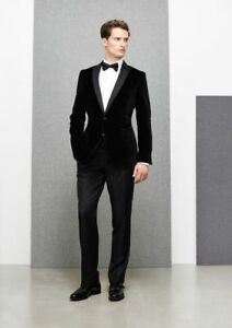 Mens Stylish Black Velvet Dinner Suit Groomsman Wedding Party Wear