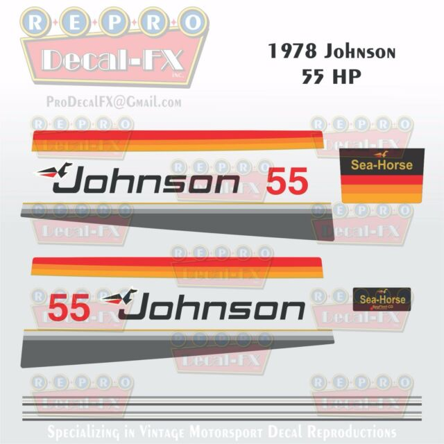 1978 Johnson 55 HP Sea-horse OUTBOARD Reproduction 14pc Marine Vinyl Decals