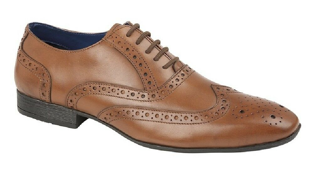 Route21 M338 Leather Brogue Oxford Classic Lace Up Formal shoes Tan Burnished Le