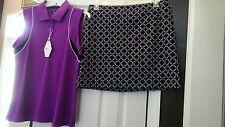 NWT Ladies GREG NORMAN Magenta Black Golf Outfit Skort Sleeveless Shirt size 8 L