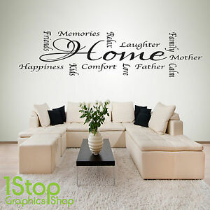 Home Words Wall Sticker Quote Bedroom Lounge Kitchen Wall Art Decal X95 Ebay