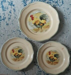Gibson-Royal-Rooster-Hand-Painted-1-Dinner-Plate-amp-2-Salad-Plates-Cream