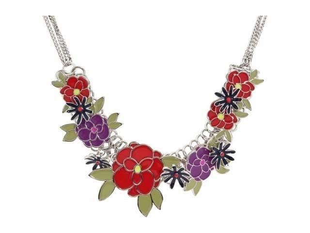 Halskette blueme Emaille red purplet Blatt silver Multirank Abend Ehe Ass 1