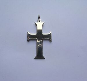 Image Is Loading Sterling Silver Plain Polished Gothic Style Cross Pendant